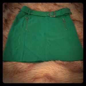Tory Burch Green Buckle Skirt
